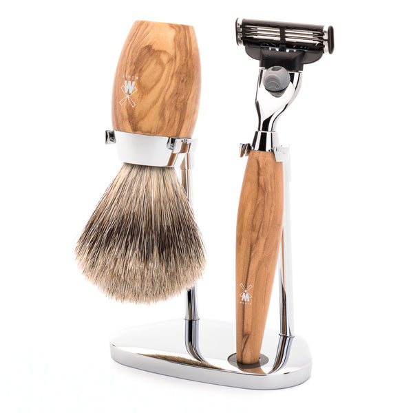 MUHLE KOSMO MACH3 SHAVE KIT 3 PIECE OLIVE WOOD HANDLE