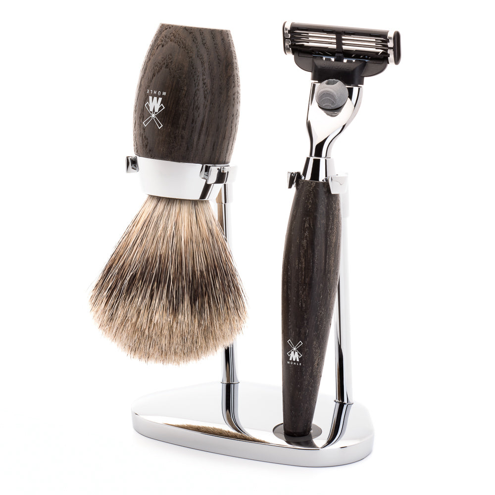 MUHLE KOSMO MACH3 SHAVE KIT 3 PIECE BOG OAK HANDLE - Blackwood Barbers