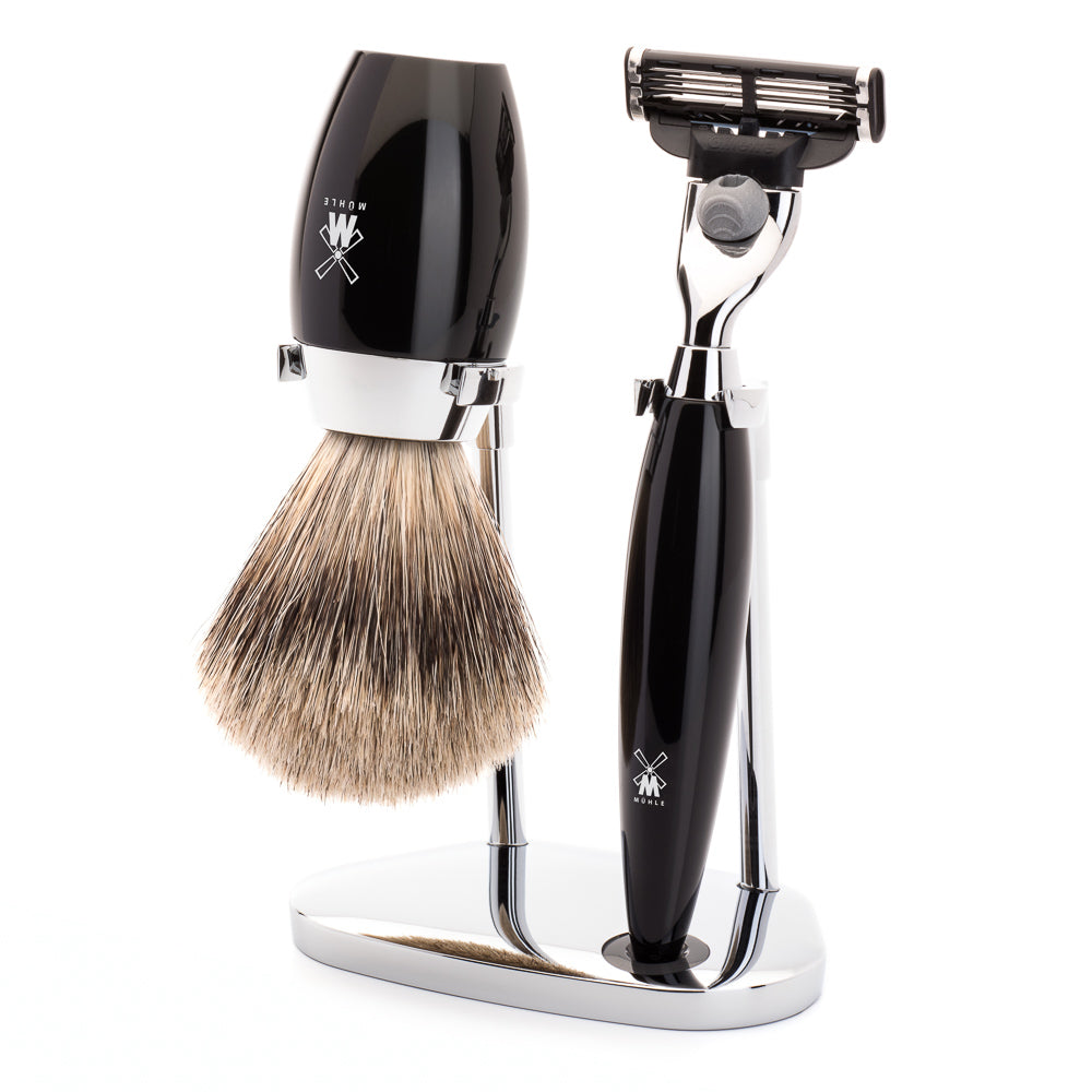 MUHLE KOSMO MACH3 SHAVE KIT 3 PIECE HIGHGRADE BLACK RESIN - Blackwood Barbers