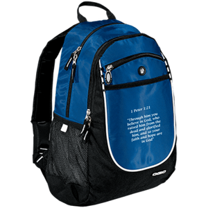 1 Peter 1:21 - OGIO Rugged Bookbag - THEGOODSHEPHERDSHIRTS.com