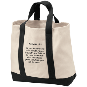 Romans 10:9 - Port & Co. Shopping Tote - THEGOODSHEPHERDSHIRTS.com