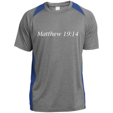 Matthew 19:14 - Young Adult Performance T-Shirt - THEGOODSHEPHERDSHIRTS.com