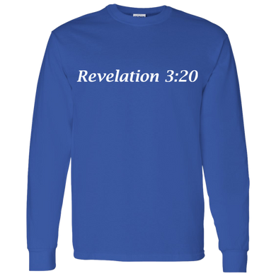 Revelation 3:20 Men's Cotton L/S T-Shirt - THEGOODSHEPHERDSHIRTS.com
