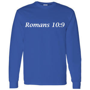 Romans 10:9 Men's Cotton L/S T-Shirt - THEGOODSHEPHERDSHIRTS.com