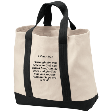 1 Peter 1:21 - Port & Co. Shopping Tote - THEGOODSHEPHERDSHIRTS.com