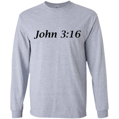 John 3:16 - Young Adult Cotton L/S T-Shirt - THEGOODSHEPHERDSHIRTS.com
