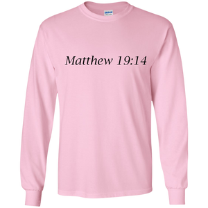 Matthew 19:14 - Young Adult Cotton L/S T-Shirt - THEGOODSHEPHERDSHIRTS.com