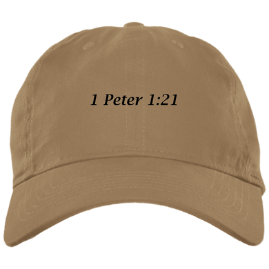 1 Peter 1:21 Brushed Twill Unstructured Cap - THEGOODSHEPHERDSHIRTS.com