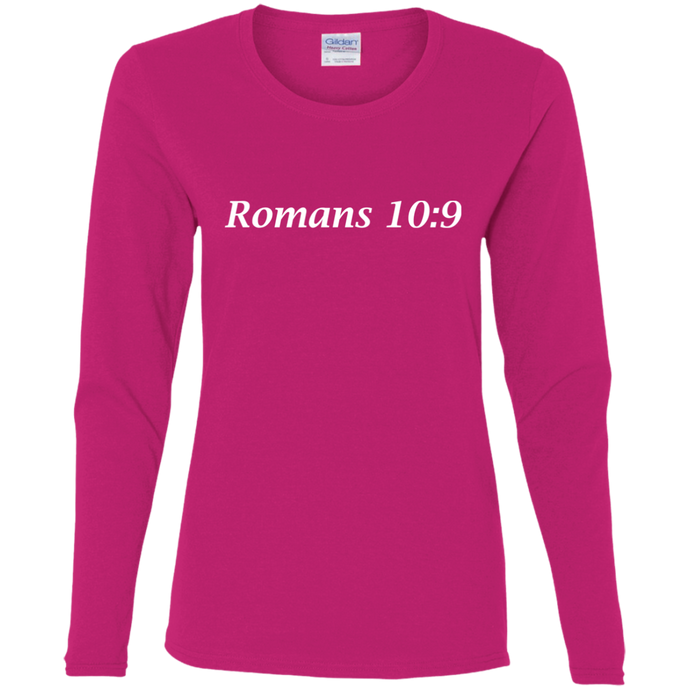 Romans 10:9 Women's Cotton L/S T-Shirt - THEGOODSHEPHERDSHIRTS.com
