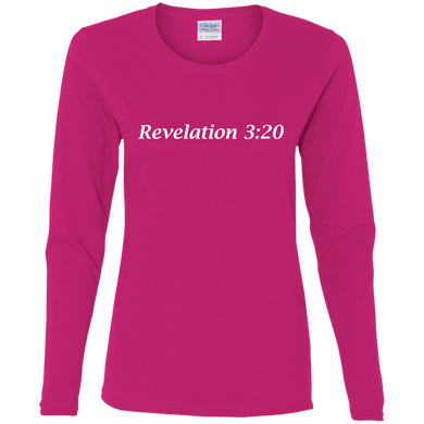 Revelation 3:20 Women's Cotton L/S T-Shirt - THEGOODSHEPHERDSHIRTS.com