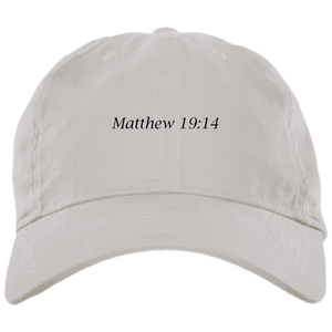 Matthew 19:14 Brushed Twill Unstructured Cap - THEGOODSHEPHERDSHIRTS.com