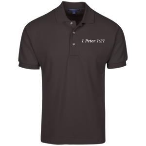 1 Peter 1:21 Men's Cotton Polo - THEGOODSHEPHERDSHIRTS.com