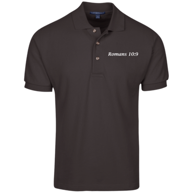 Romans 10:9 Men's Cotton Polo - THEGOODSHEPHERDSHIRTS.com