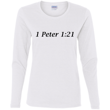 1 Peter 1:21 Women's Cotton L/S T-Shirt - THEGOODSHEPHERDSHIRTS.com