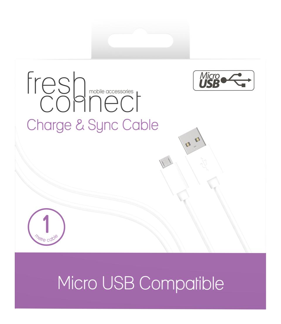 Fresh Connect Micro USB 1m Cable -White