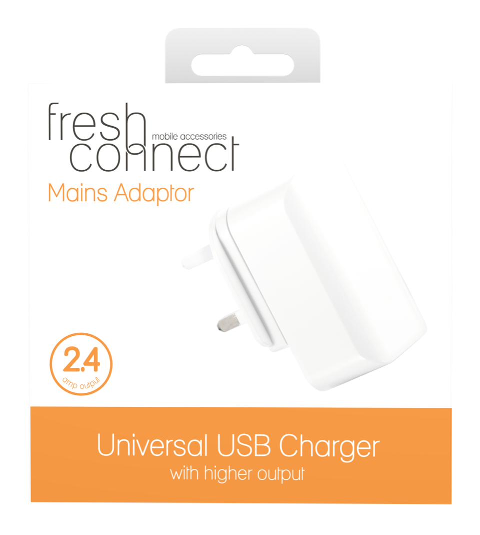 Fresh Connect Universal Mains Plug 2.4amp -White