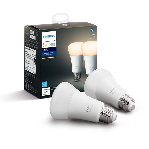 Philips Hue E27 (A60) White Smart Bulbs (Twin Pack) - White