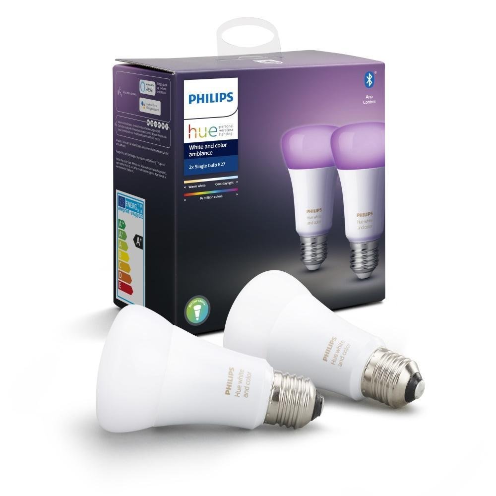 Philips Hue E27 (A60) Colour Smart Bulbs (Twin Pack) - White
