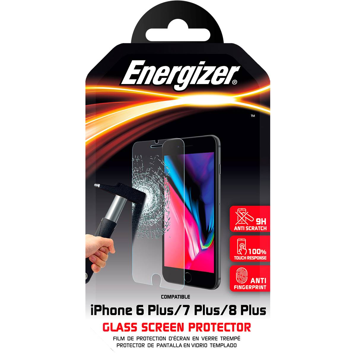 Energizer Tempered Glass Screen Protector - iPhone 6s Plus/ 7 Plus/ 8 Plus