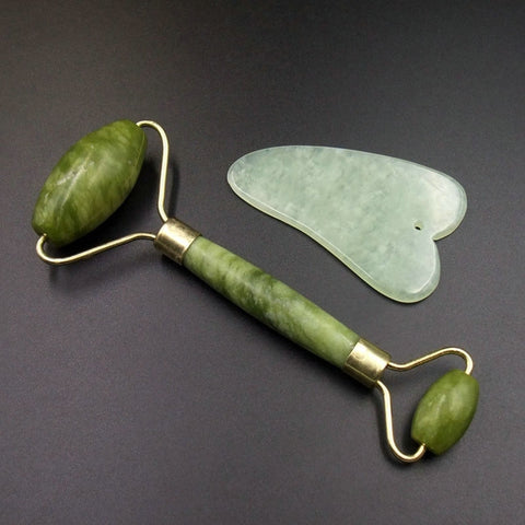 2PCS Gua Sha Facial Roller Massager Chinese Medicine Natural Jade Board Scraping Tool