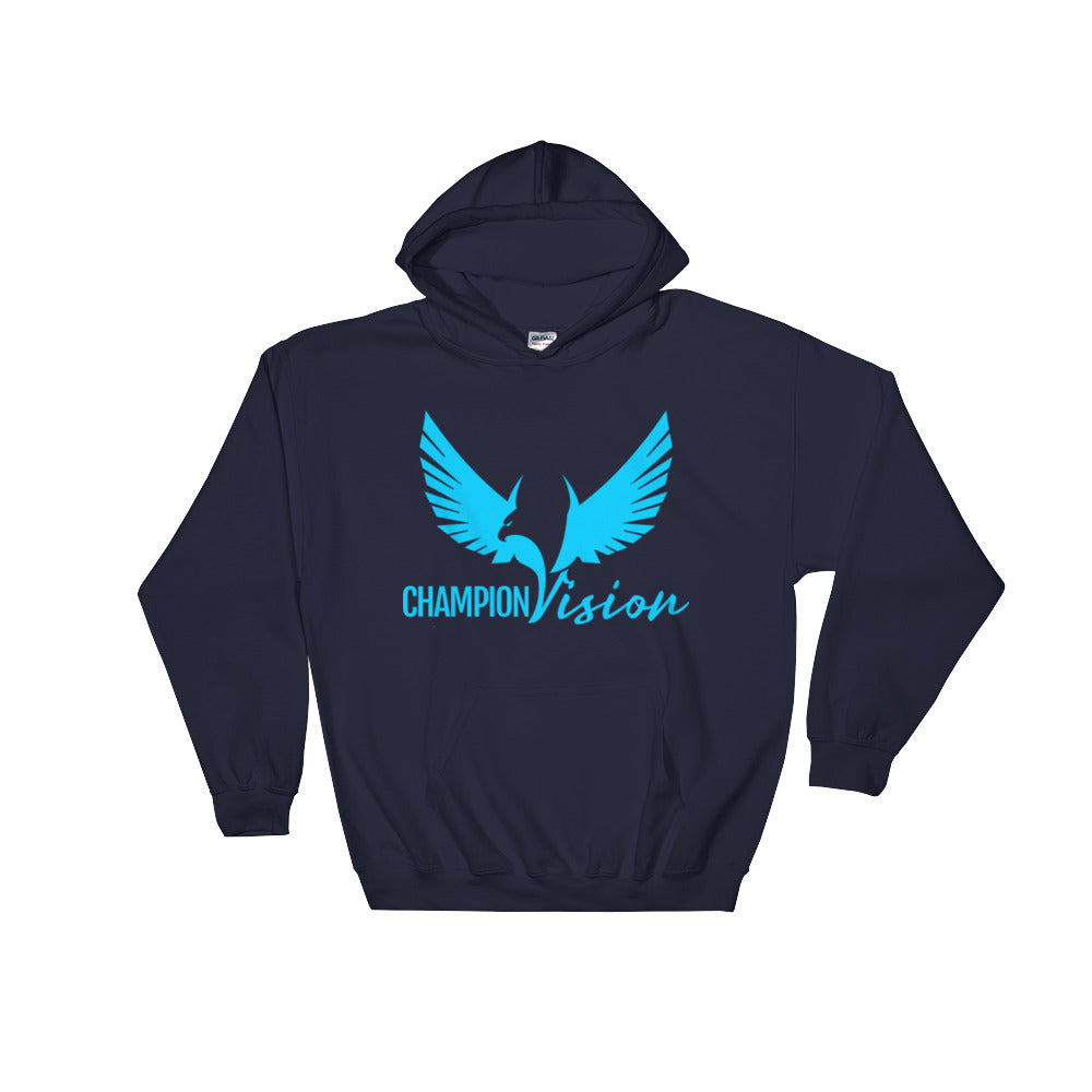 Men Champion Vision Logo Hoodie Navy/Sky Blue