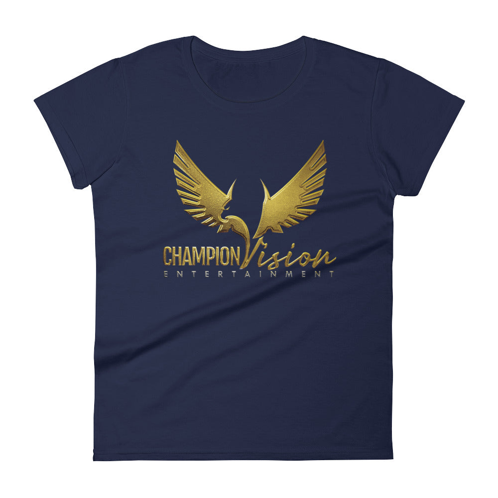 Women's Champion Vision Logo Tee: Navy Blue | Gold