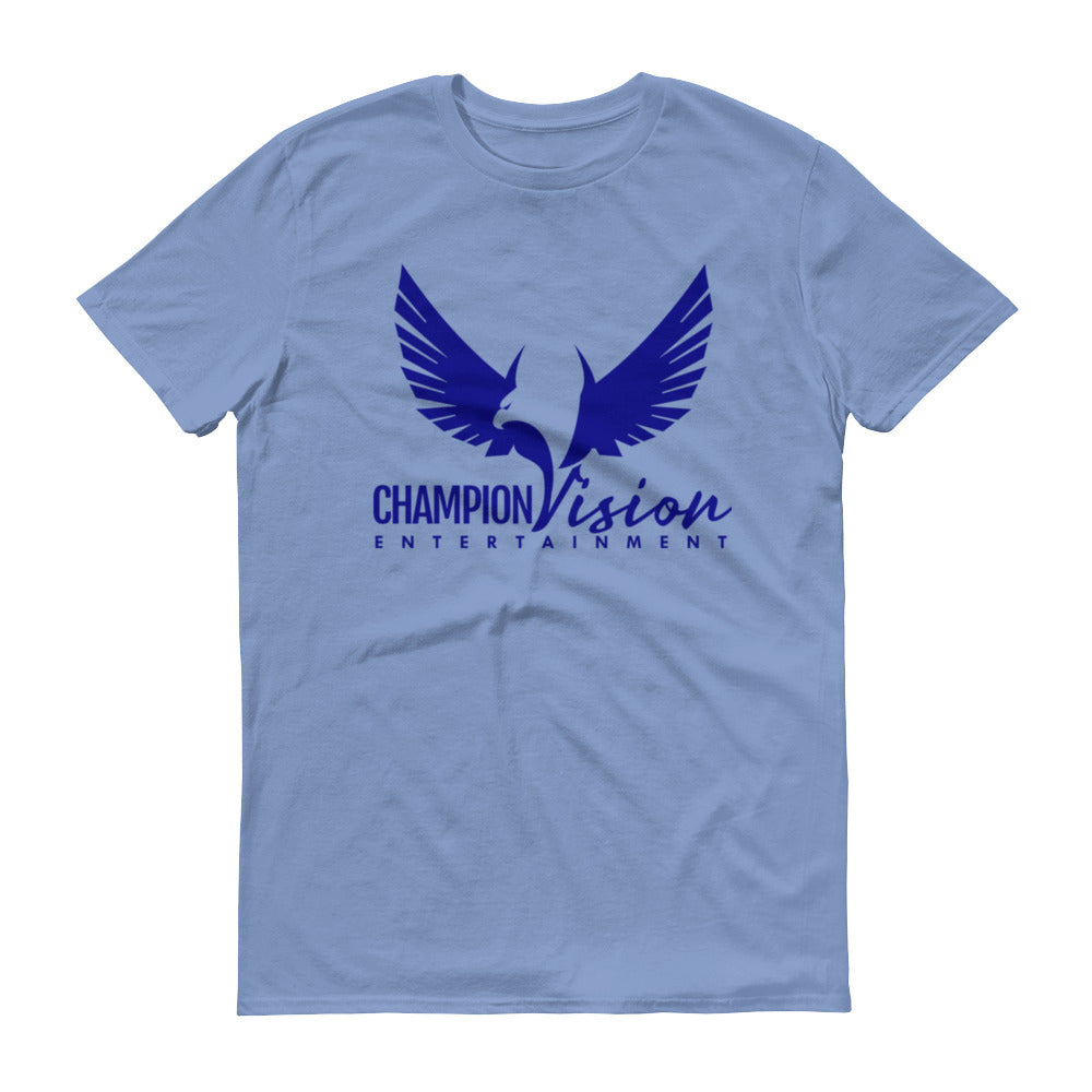 Men Champion Vision Logo Tee: Light Blue | Navy Blue