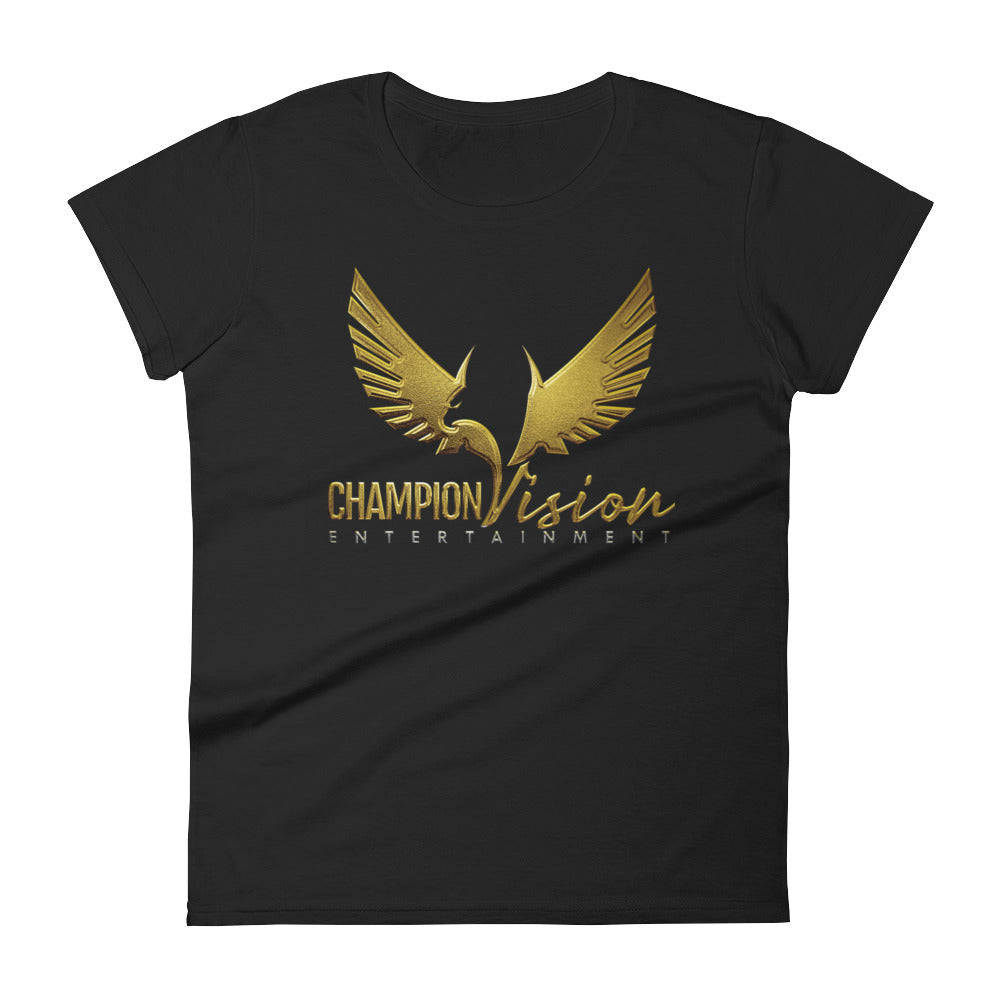 Women's Champion Vision Logo Tee: Black | Gold