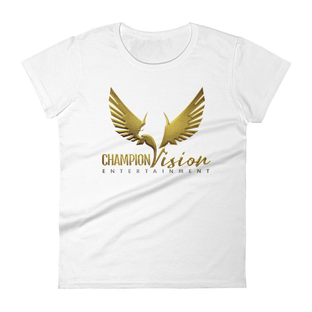 Women's Champion Vision Logo Tee: White | Gold