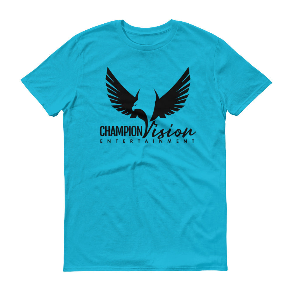 Men Champion Vision Logo Tee: Caribbean Blue | Black