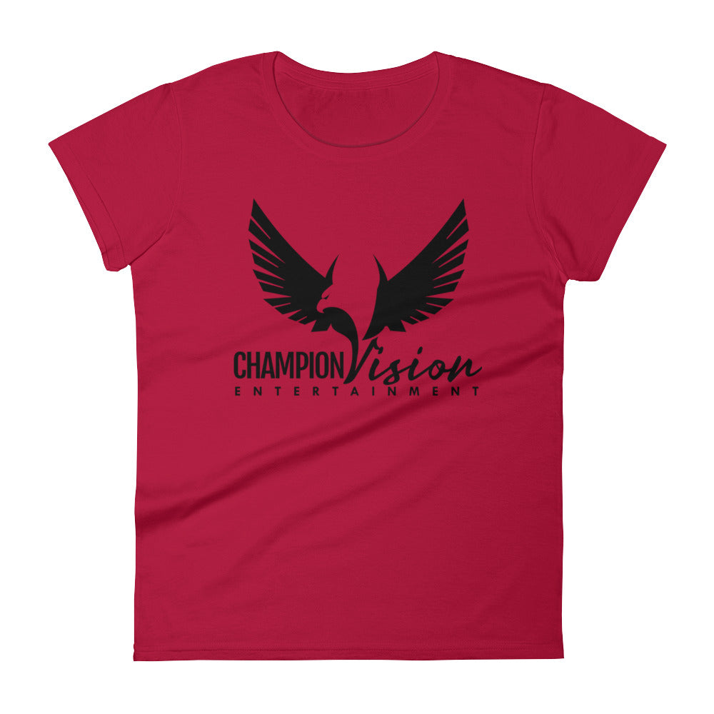 Women's Champion Vision Logo Tee: Red | Black