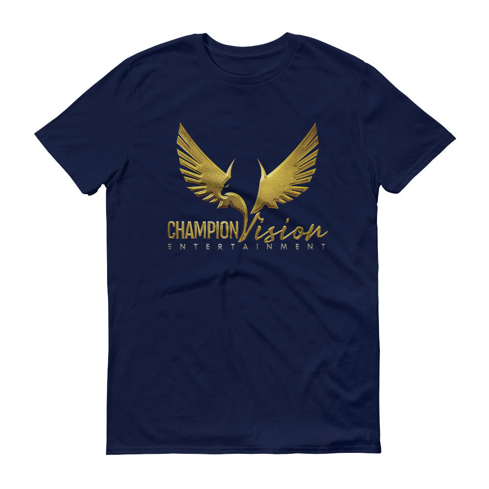 Men Champion Vision Logo Tee: Navy Blue | Gold