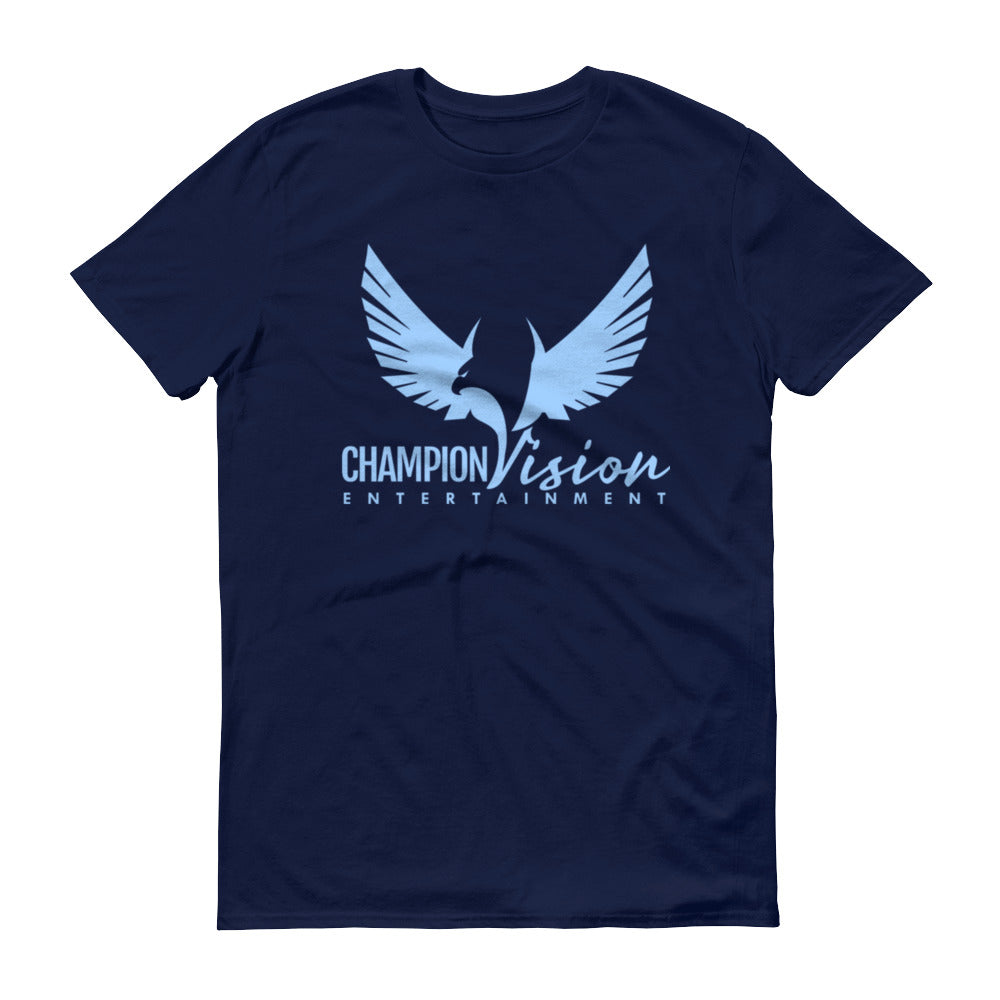 Men Champion Vision Logo Tee: Navy Blue | Light Blue