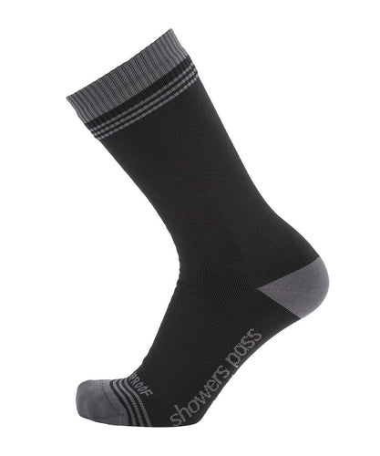 CROSSPOINT WATERPROOF CREW SOCKS BLACK/GRAY