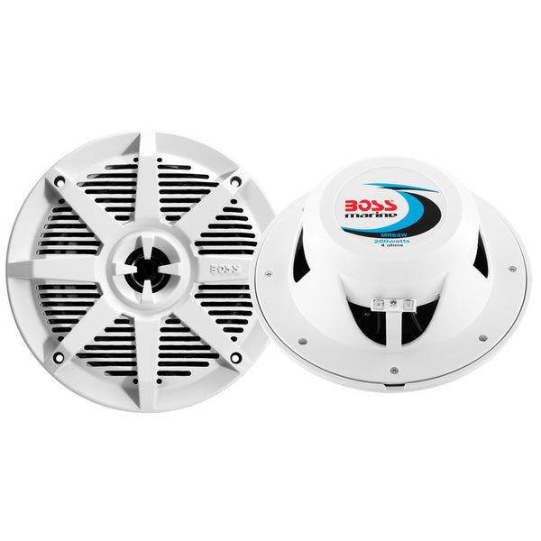 "Boss Audio MR62W 6.5"" 2-Way 200W Marine Full Range Speaker - White - Pair [MR62W]"