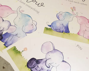 Baby Prints - Elephant Family Set of 3