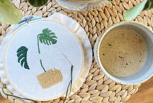 Monstera Embroidery Kit