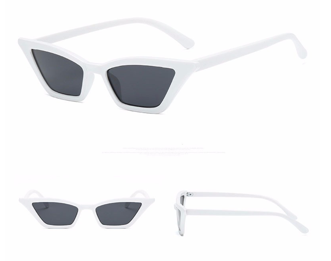 White Slim Frame Cat Eye Sunglasses
