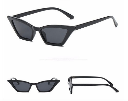 Black Slim Frame Cat Eye Sunglasses