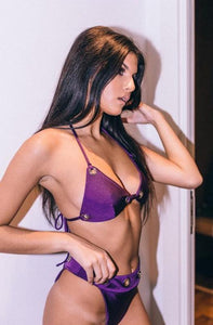 'ALL EYELETS ON ME' Bikini Set DEEP PURPLE