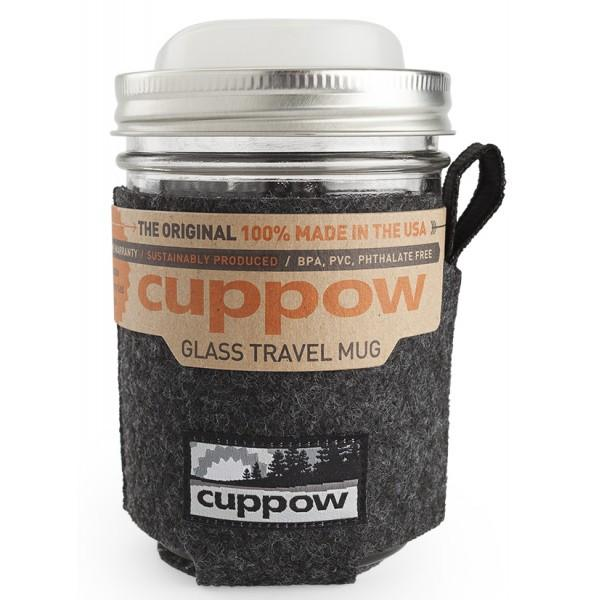 Cuppow Wide-Mouth Glass Travel Mug | Clear