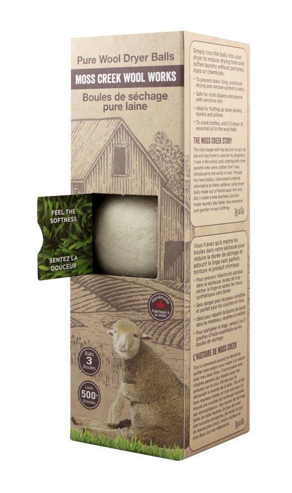 Set of 3 Canadian Made Wool Dryer Balls | White