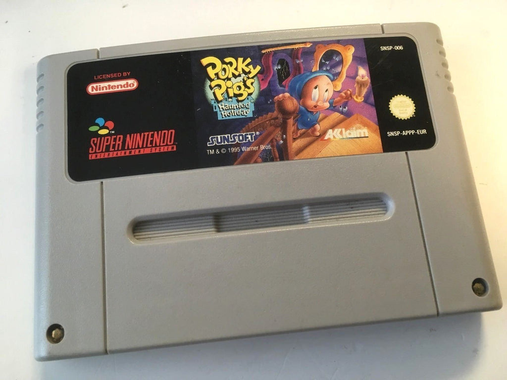 * Super Nintendo Game * PORKY PIG'S HAUNTED HOLIDAY * SNES *