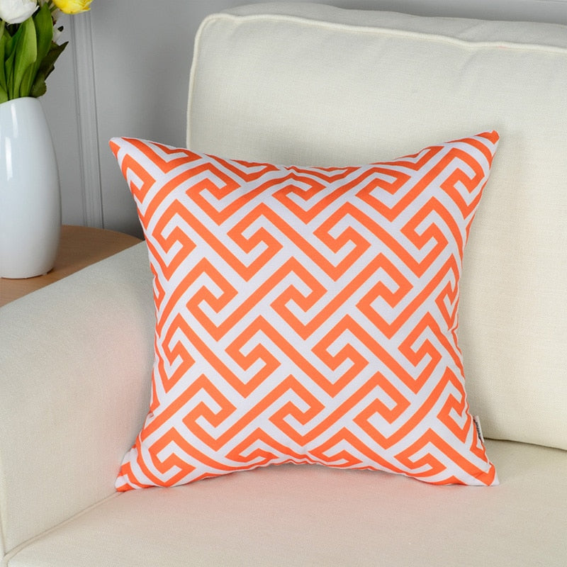 Topfinel Geometric Decorative Throw Pillow Covers Orange Color Enchanting Load Pillow Covers