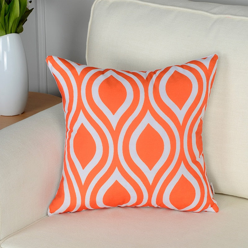 Topfinel Geometric Decorative Throw Pillow Covers Orange Color Custom Load Pillow Covers