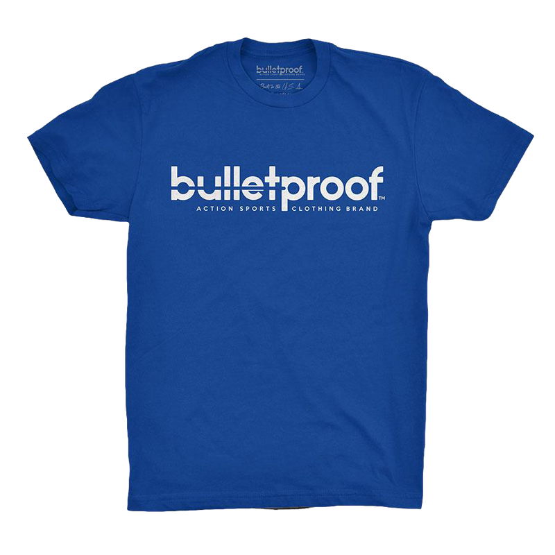 bulletproof threads bold tee blue youth
