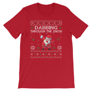 Dabbing Through The Snow Christmas Short-Sleeve Unisex T-Shirt - Fashionmoxy