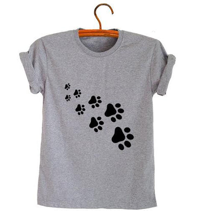 Cat Paws Print Cotton T-Shirt - Fashionmoxy