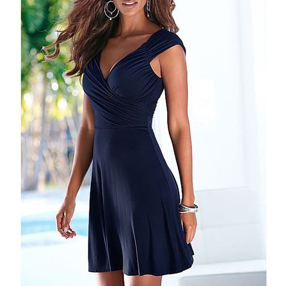 Empire Pleated Waist Sleeveless V-Neck Party Dress - Fashionmoxy