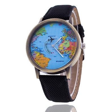 Global Travel Plane Map Denim Fabric Band Watch - Fashionmoxy